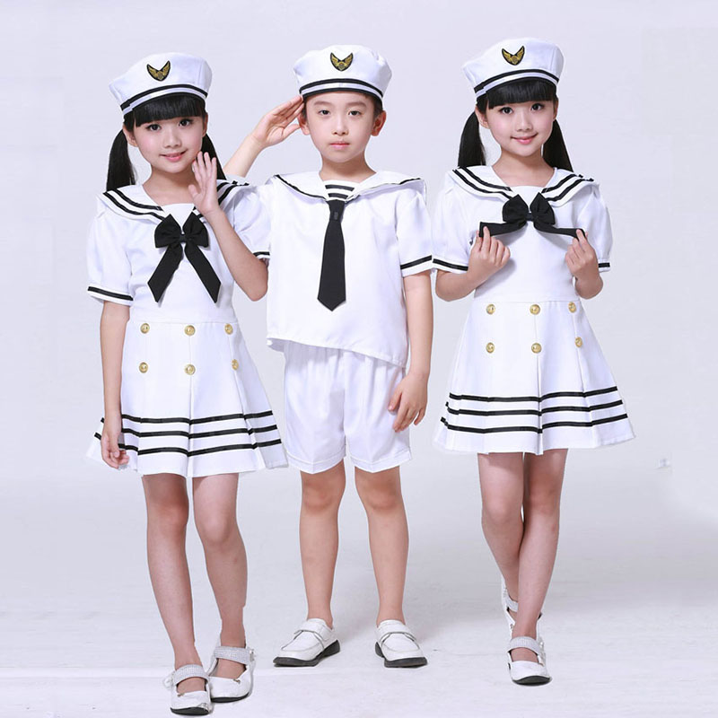 Children's Halloween Navy Cosplay Costume Boy Girl Army Costume Sailor Uniform Dress Dance Performance Costume