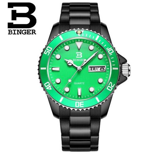 Switzerland Genuine Binger Mens Watches Luxury Brand Round Luminous Watch Military Relogio Masculino Swiming Wristwatch