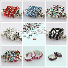 100PCS Mixed Color Crystal Rhinestone Spacer Big Hole Loose Beads Fit European Bracelet Beads Jewelry Findings 10 x 3mm