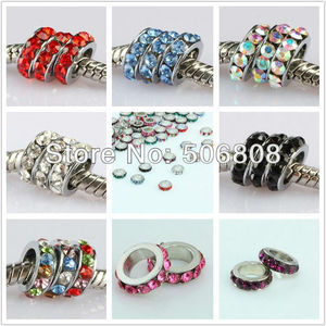 Image 1 - 100PCS Mixed Color Crystal Rhinestone Spacer Big Hole Loose Beads Fit European Bracelet Beads Jewelry Findings 10 x 3mm