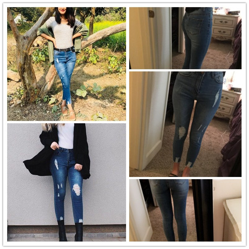Sheinside Blue Bleach Wash Distressed Rock Denim Jeans Women Casual High Waist Button Fly Ripped Pants