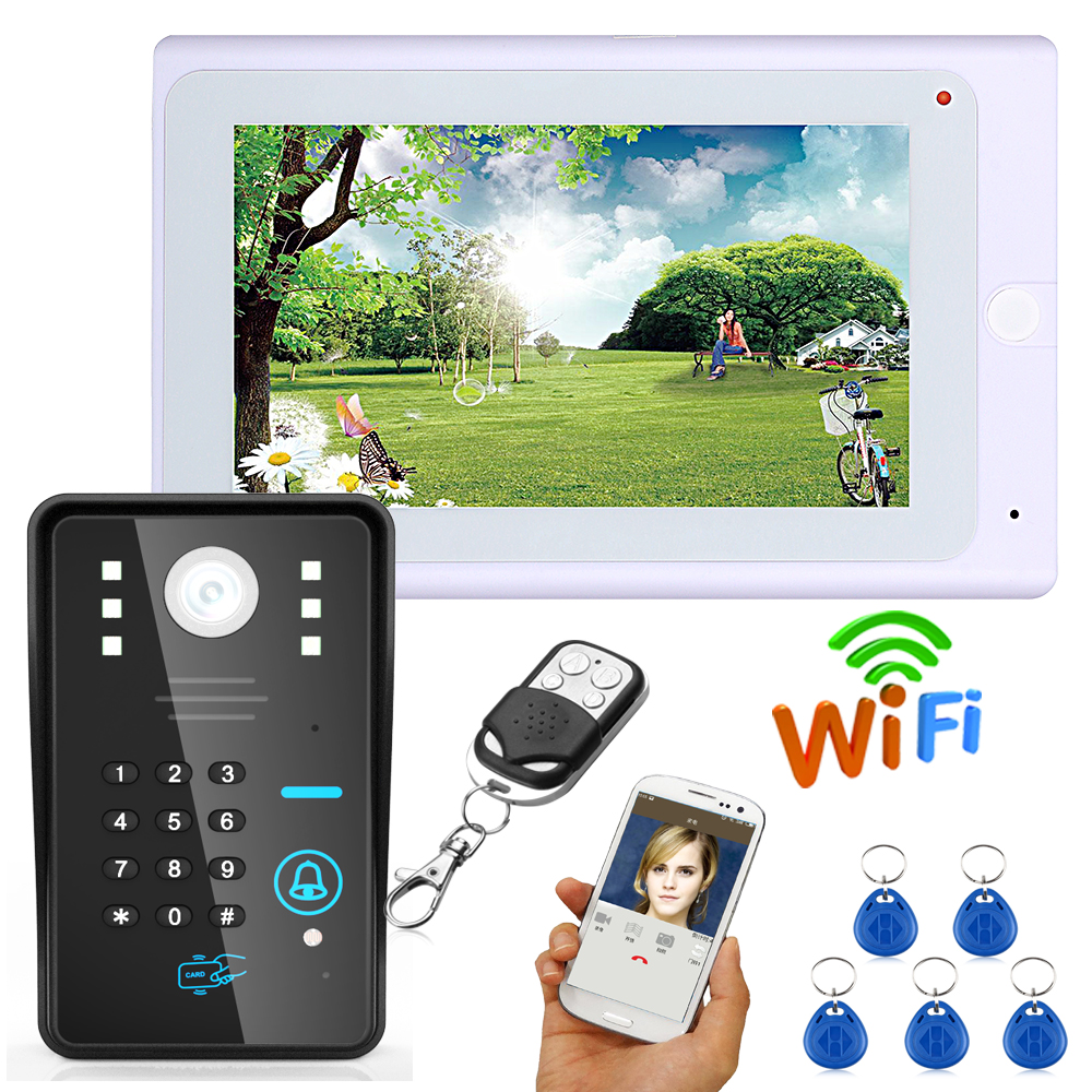 SmartYIBA Video IP Intercom WIFI APP Remote Control 7 Inch Video Call With Monitor Password RFID Unlock Wired Video Doorbell