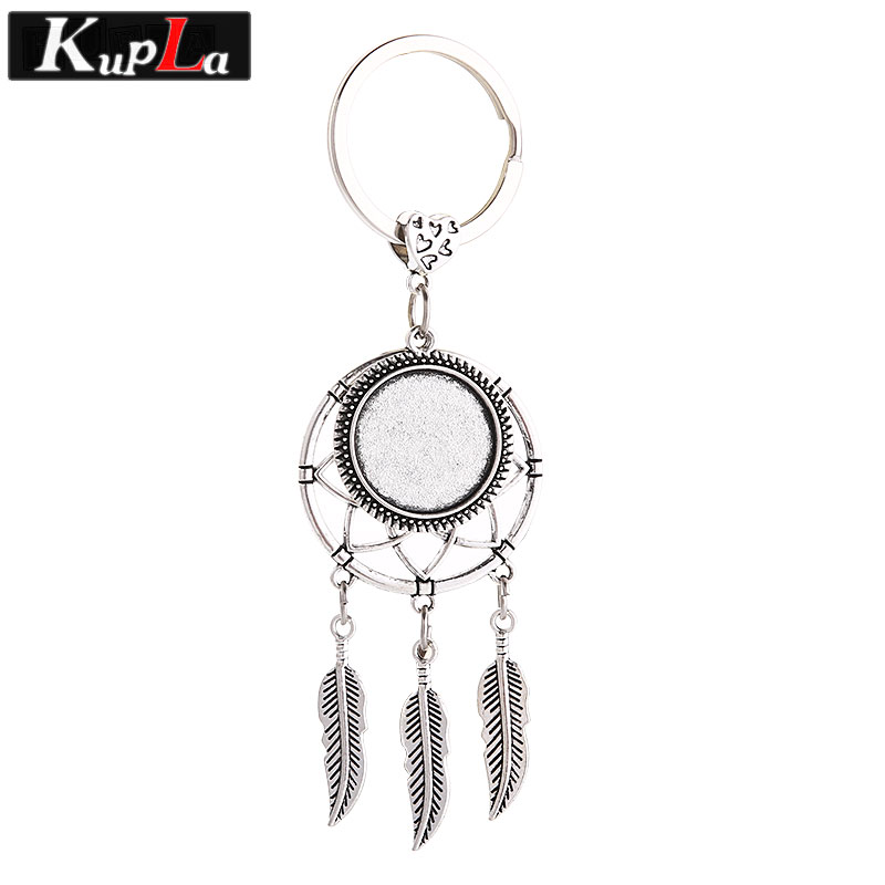 Antique Silver Metal Dreamcatcher Keychains Cabochon Setting For DIY Jewelry Handmade Making Key Chains 3 Pieces/lot C5912