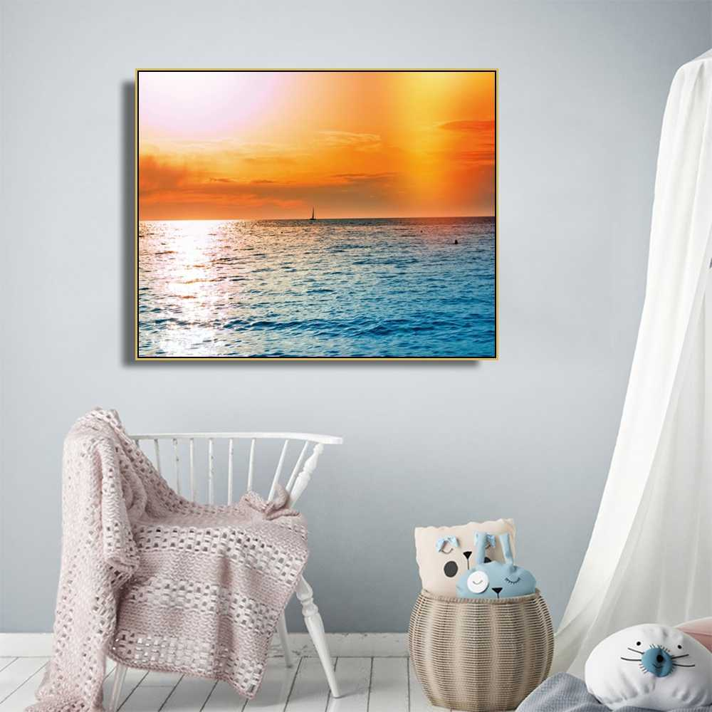 Laeacco Canvas Sunrise at Sea Posters Calligraphy Painting and Prints Outside Wall Artwork Pictures for Living Room Home Decor