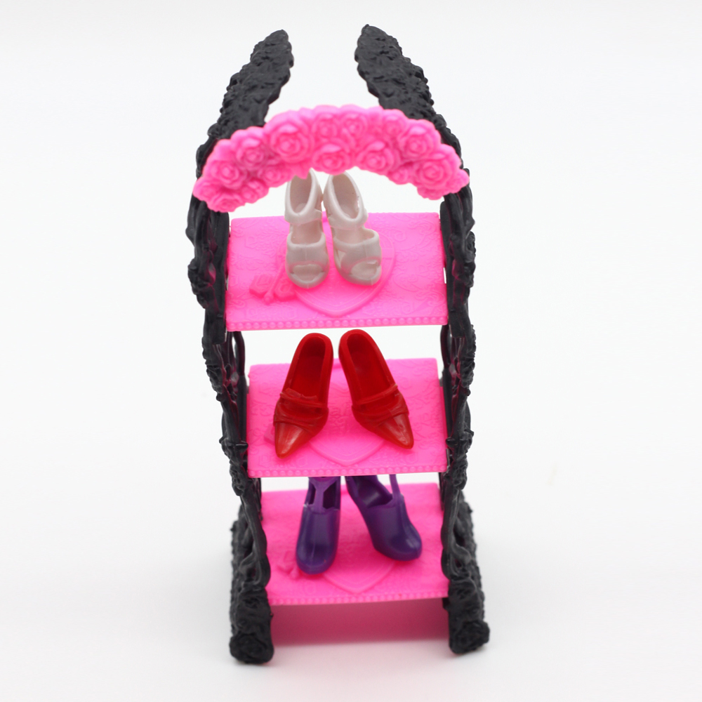 1pcs Playhouse Shoes Rack For Barbie Doll Storage Racks For Monster High Dolls Furniture Kids toys es029 children s bookcase shelf bookcase cartoon toys household plastic toy storage rack storage rack simple combination racks