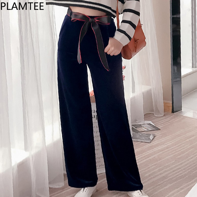 9436c6a4d16 PLAMTEE 2018 Spring Thin Pants Women Golden Velvet Bow Straight Leg Pants  Female Loose Casual High Waist Trousers Plus Size New