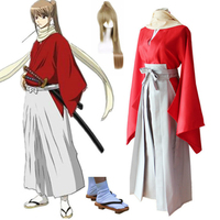 Dress Ancient Cosplay for Okita Sougo for GinTama with Hair Wigs and Geta Vestidos Japan Anime Halloween Costume Adult Women