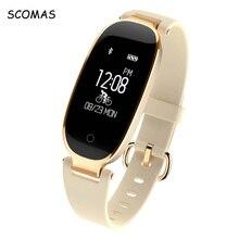 Scomas S3 Bluetooth Водонепроницаемый Смарт-часы модные женские туфли женские сердечного ритма Мониторы Фитнес трекер SmartWatch для iOS и Android