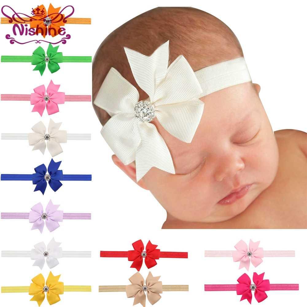 Nishine 20 Farben Band Bogen Strass Neugeborenes Stirnband Schwalbenschwanz Bogen Kinder Stirnband Haar Bogen Kinder Foto Schießen