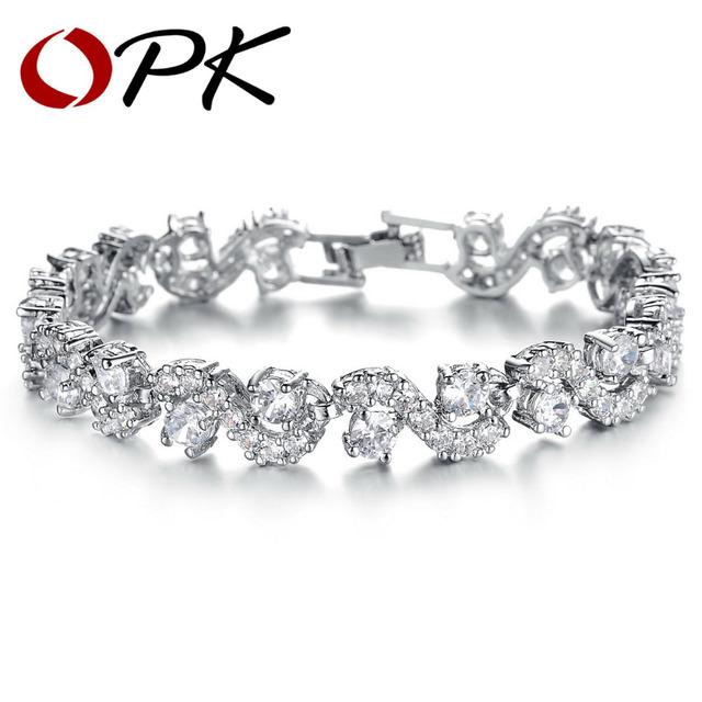 Opk joyería oro blanco color cristal sintético austria grande pulseras marca diseño ds931b strand pulsera elegante joyería de las mujeres