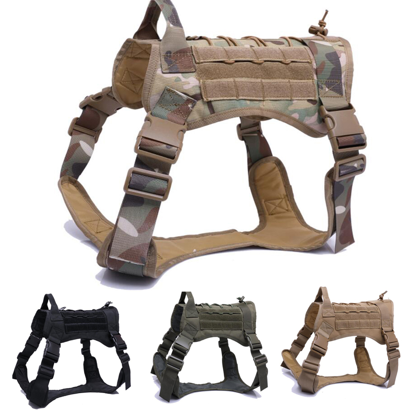 Tactical Dog Hunting Training Molle Vest Camoufalge Waterproof Adjustable Military Service 1000D Nylon