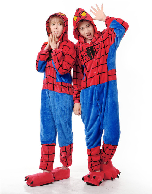 flannel funny cartoon spiderman adult onesie couples pajamas theme party cosplay onesie christmas pajamas carnival costume