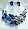 Vintage Style Art Deco Blue morning glory Rhinestone Crystal Necklace Earrings Set