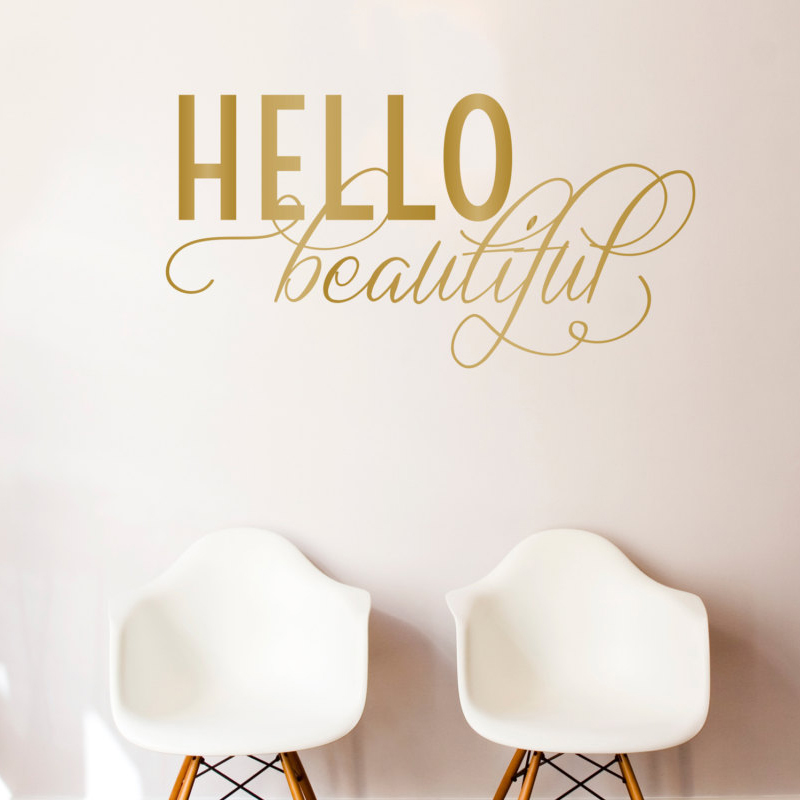 Hello Beautiful Quote Wall Decal Custom Vinyl Art Stickers For Homes Schools Offices Interior Designers Wall Murals F839 in Wall Stickers from Home Garden