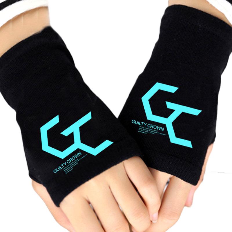 Glow In Dark Fashion Unisex Knitting Gloves Guilty Crown GC Fingerless Cotton Knitted Glove Spring Fall Winter Warm Mittens Gift