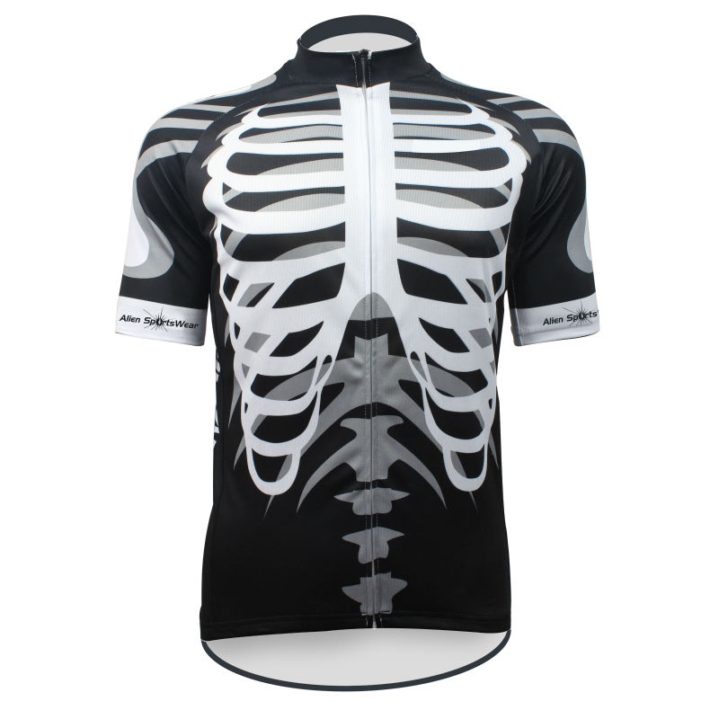 Cycling shirt bike equipment Summer Breathable Men White Skeleton Breathable top Sleeve Cycling Jersey Full Zipper Bike Shirt Si