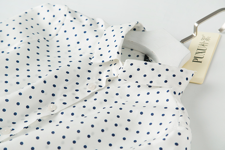 Algodón Femininas Shuchan 10 Punto Retro Natural Mujer Mujeres De 90 Manga Camisas Seda Y Blusas Larga Las Tops Camisa Blanco Para Polka HrwpxqH8