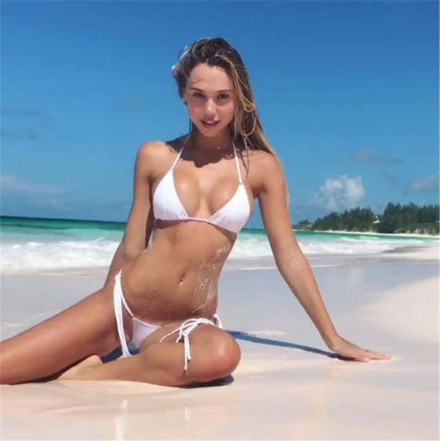 3816fad358685 High Waisted Thongs White Micro Biquinis 2018 Bathing Suit Halter Bikini  Set Thong Top Swimming Suit String Swimwear Woman Top