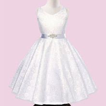 7-14 years old Europe's children's evening dress new summer sleeveless diamond mesh belt girls dress