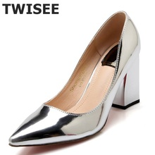 2016 фабрика обуви женщины острым носом нижние высокий каблук насос леди одна Партия карьера весна осень обуви