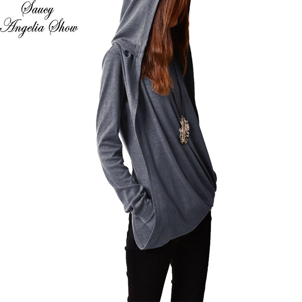 SAUCY ANGELIA Women T Shirt Gray Hooded Winter Fall 2018 Long Sleeve Tops Crops Shirt Criss Cross Mujer Femme Casual Tees XL XXL