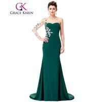Grace karin lungo prom dress verde dell'innamorato della sirena di applique perline una spalla manica lunga abiti occasioni speciali 2017