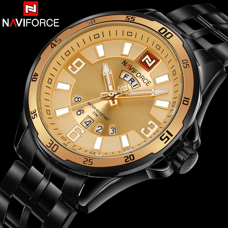 New Arrival NAVIFORCE Brand Mens Quartz Watch Men Sport Watches Stainless Steel Waterproof Watches Male Military Calendar Clock