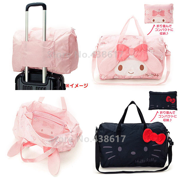 Cute Black Hello Kitty Pink My Melody Foldable Folding Travel Bag on Wheels  Messenger Duffle Bags for Women Girls Hand Luggage 583f017c1d3f1