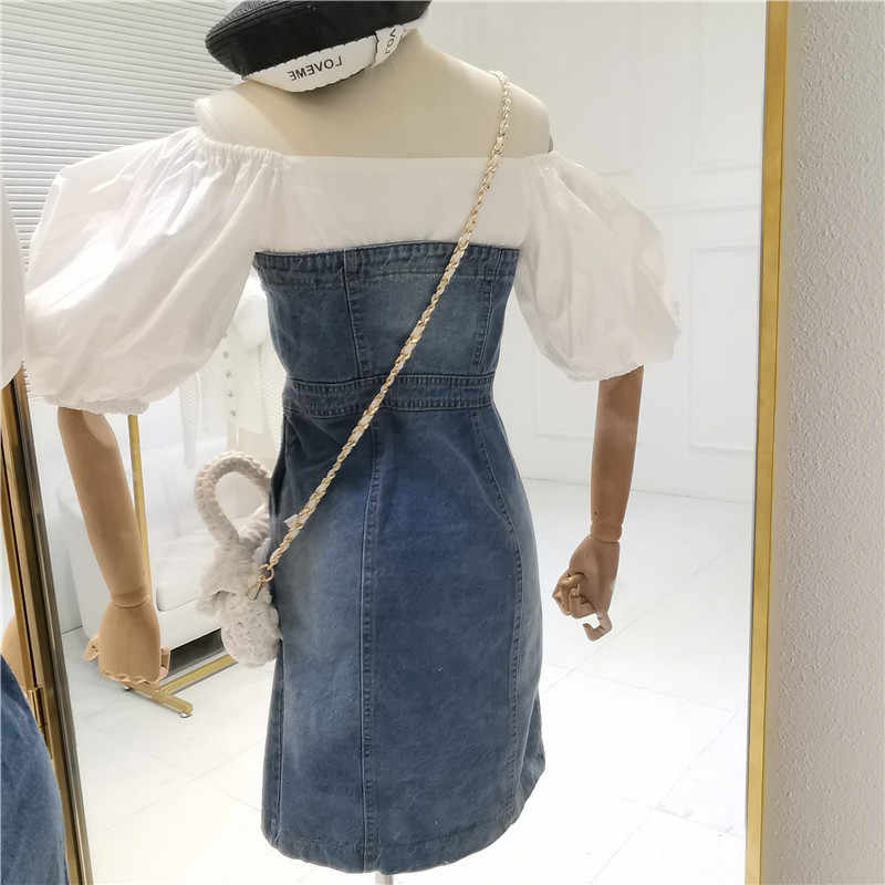 Женские весенне-Летние Ретро темпераментные джинсовые тюбики Топ сшивание платье Slash шеи тонкий с пышными рукавами платье A319