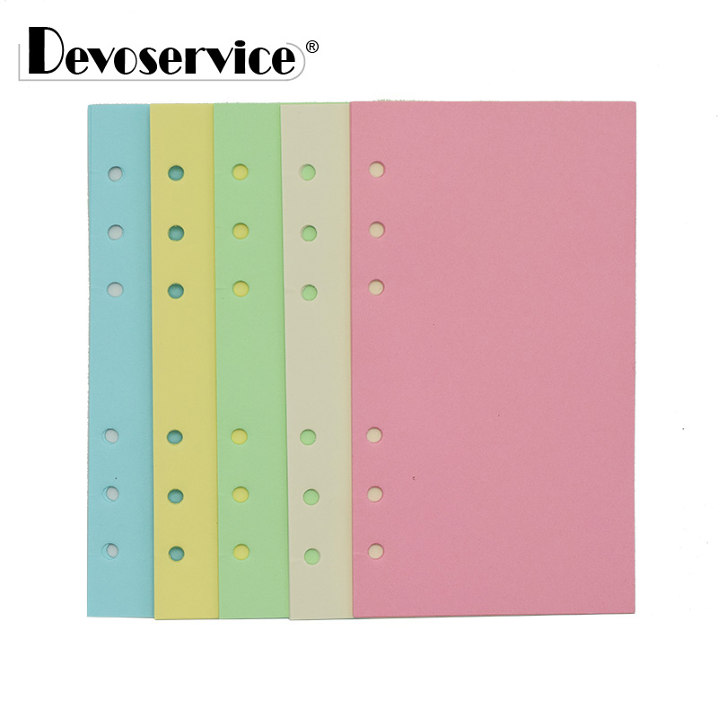 1Pcs Candy Color Loose-Leaf Note Book A5/A6 Filler Papers With Holes Inner Core Notebook Blank Page Paper Spiral Binder Paper kokuyo gambol paper paper drafts a5 70 page 4 wcn a5 708