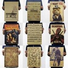 Винтажные постеры для фильмов, Ретро плакат Железный человек, крафт-бумага, рисунок, классический кофе-бар, украшение дома, картина, наклейка на стену