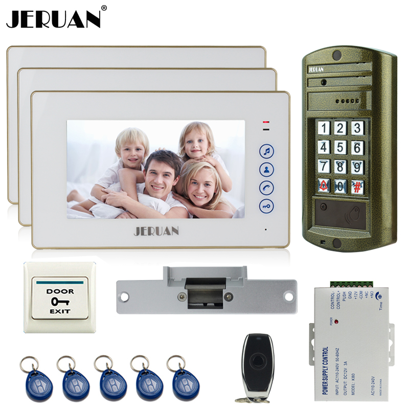 JERUAN 7`` TOUCH KEY LCD Color Video Door Phone Intercom System kit 3 Monitor +NEW Metal Waterproof Password HD Mini Camera