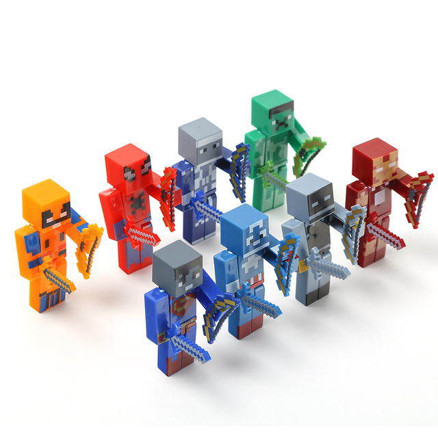 8 PCS Minecraft The Avengers Building Blocks Figures