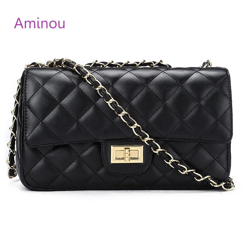 Aminou Luxuru Crossbody Bags For Women Brand Chain Bag Womens Diamond Lattice Pu Leather Handbag WomenS Designer Bolsa Feminina