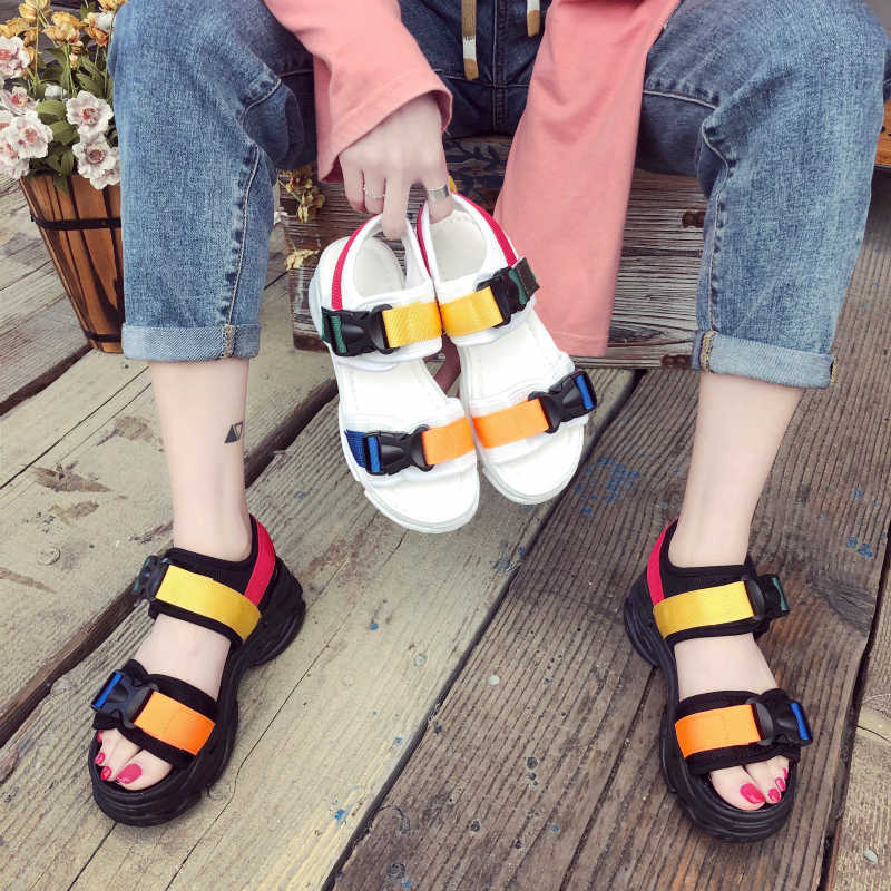 2019 חם Harajuku נעליים חדש אופנה נשים פלטפורמת סנדלי גבירותיי מקרית טריזי ציוץ בוהן נעלי אישה Sandalias Mujer שחור לבן