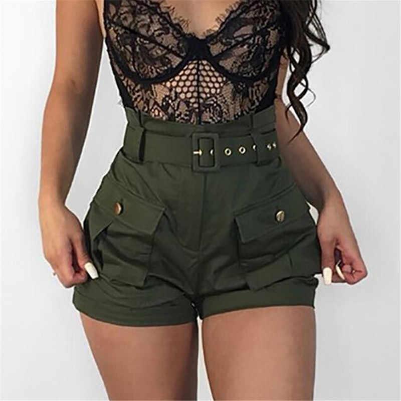ฤดูร้อนสบายๆกองทัพสีเขียวกางเกงขาสั้นเอวผู้หญิง A-Line สั้นกางเกง Stylish Ladies เข็มขัดกางเกงสั้น