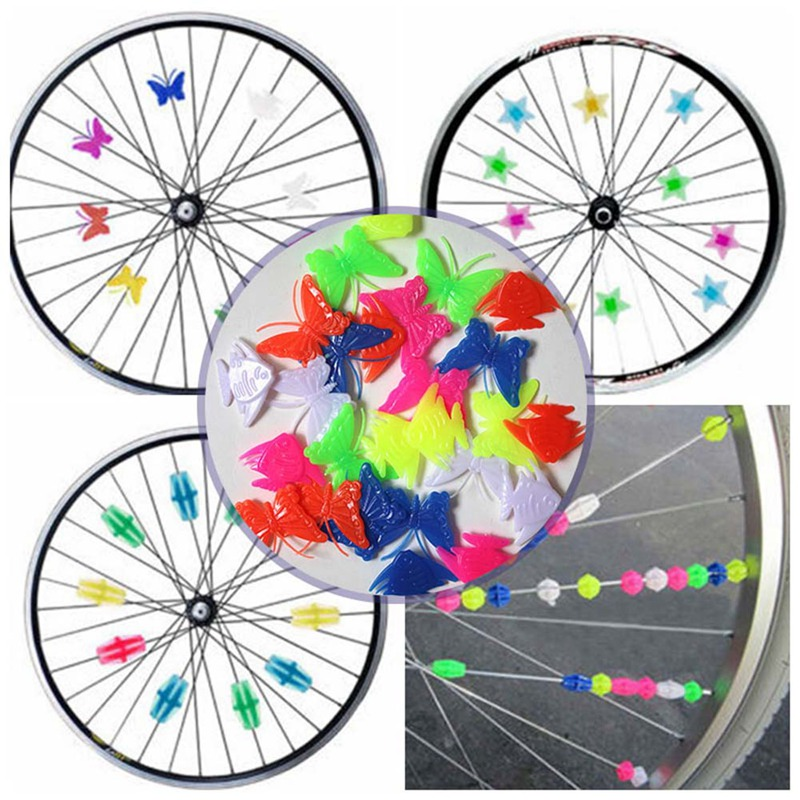 Bicycle Bike DIY Wheel Plastic Spoke Bead Children Kids Clip Colored Decoration