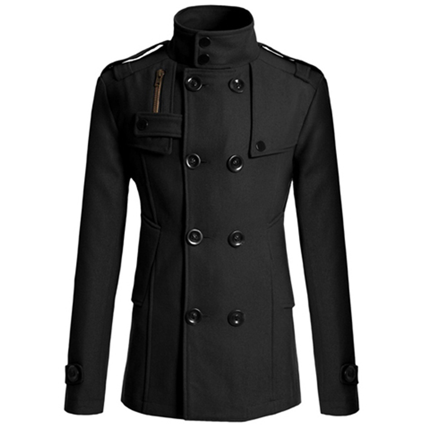 men casual double breasted male trench coat military style pea coat men 39 s windbreakers trench. Black Bedroom Furniture Sets. Home Design Ideas