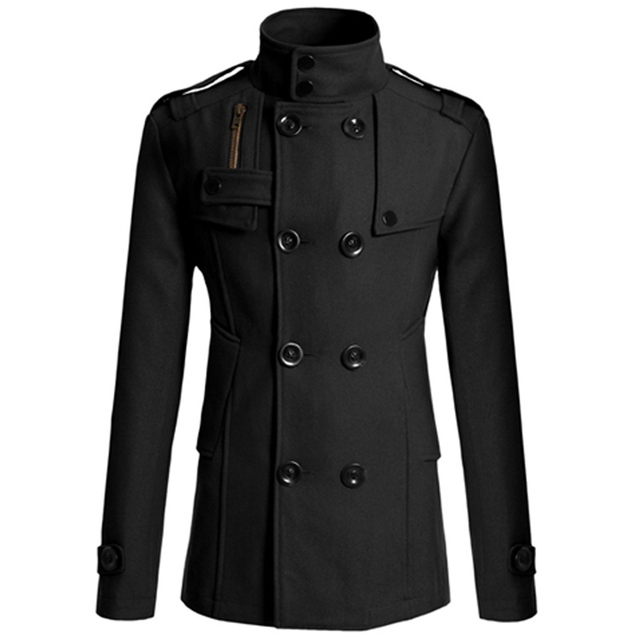 962f67ae4fc Men Casual Double Breasted Male Trench Coat Military Style Pea Coat Men s  Windbreakers Trench Homme