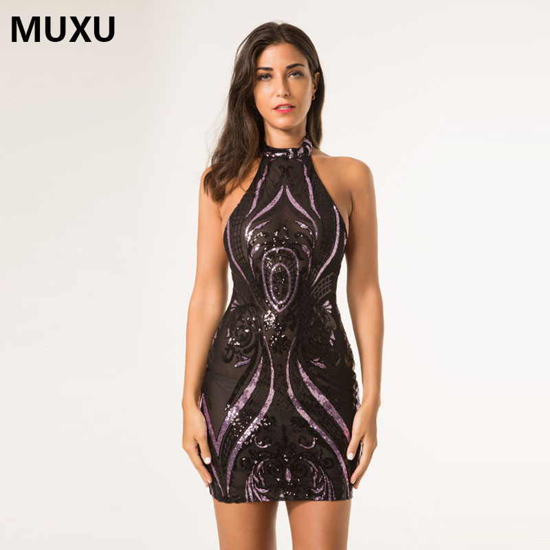 MUXU fashionable black sexy dress sequin glitter woman backless dress sleeveless font b womens b font