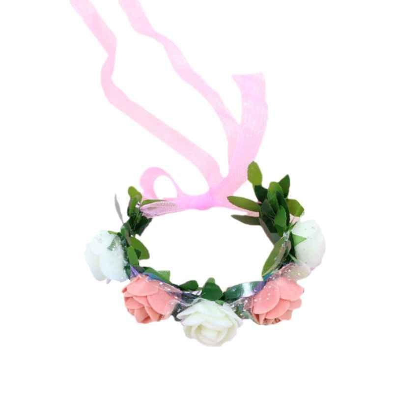 ผู้หญิงข้อมือ Corsage สายรัดข้อมือ Contrast สี Candy 5 โฟมดอกไม้งานแต่งงานเจ้าสาว WAVE Point ตาข่ายริบบิ้นสร้อยข้อมือ