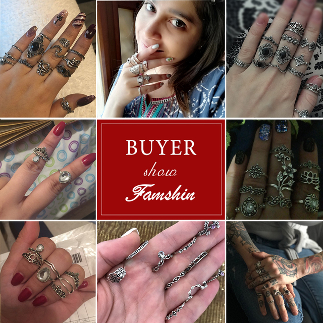 15pcs/Vintage Boho Ring Set