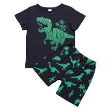 Pudcoco Summer Unisex Children Toddler Kid Boy Baby Girl Clothes Set Outfits Dinosaur Printing Shirt  + Animal Print Shorts 2pcs