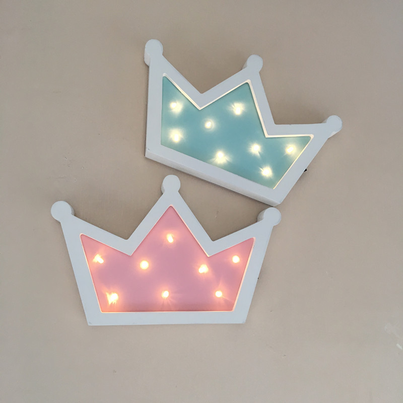 Wooden Crown Led Night Light Baby Children Kids Gift Table Lamp pendant wall Hanging lamp Bedside Bedroom Decorative Indoor Lamp