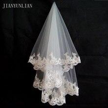 Em Estoque Promoção Branco e Marfim vestido de Noiva Véu de 1.5 metros Véu de Noiva Casamento Acessórios de Moda de Nova Lace Borda Véus de Tule