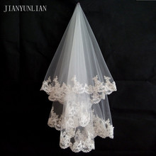 Promoción, velo de novia blanco y marfil, 1,5 metros de velo de novia, accesorios de boda, velos de tul con borde de encaje a la moda