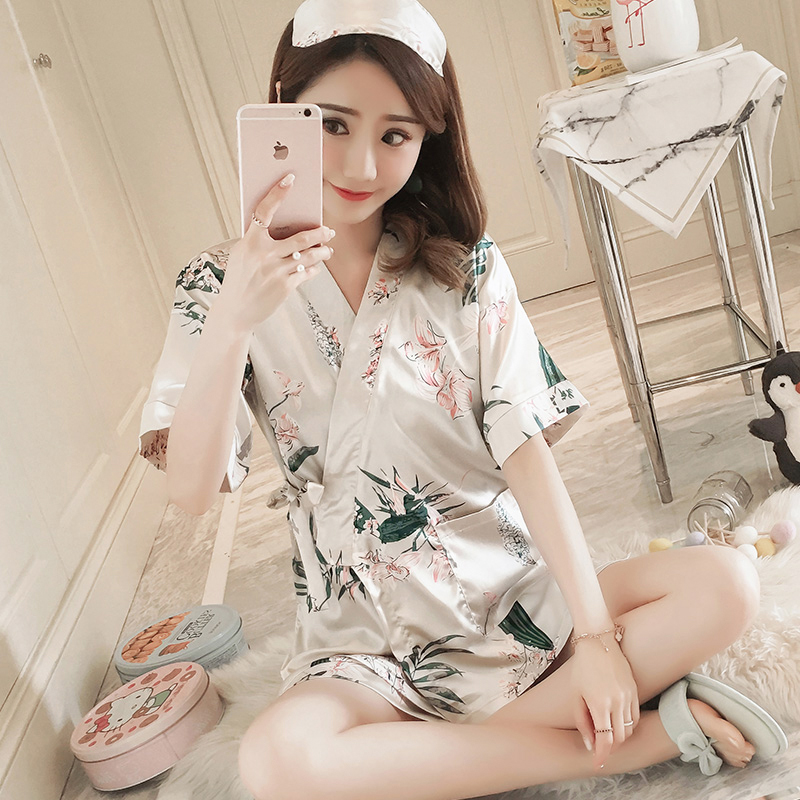 Two Suits Of Silk Kimono For Women's Summer Sleepwear Of 2019 Style Korean Version Of Thin Short Sleeve Cartoon Ice Silk Housewe