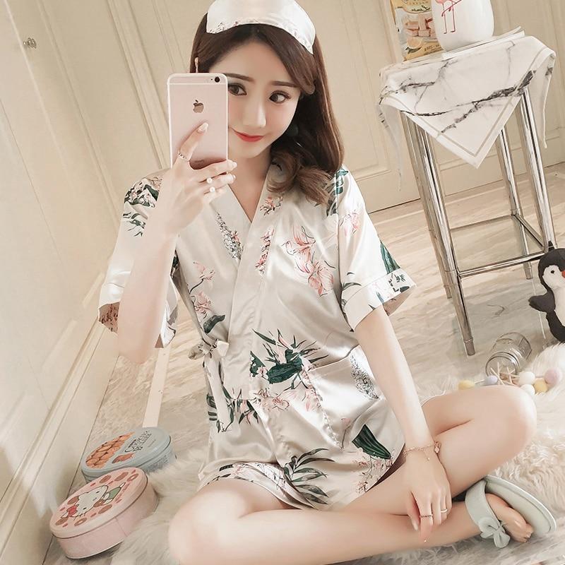 Two Suits Of Silk Kimono For Women's Summer Sleepwear Of 2019 Style Korean Version Of Thin Short Sleeve Cartoon Ice Silk Housewe