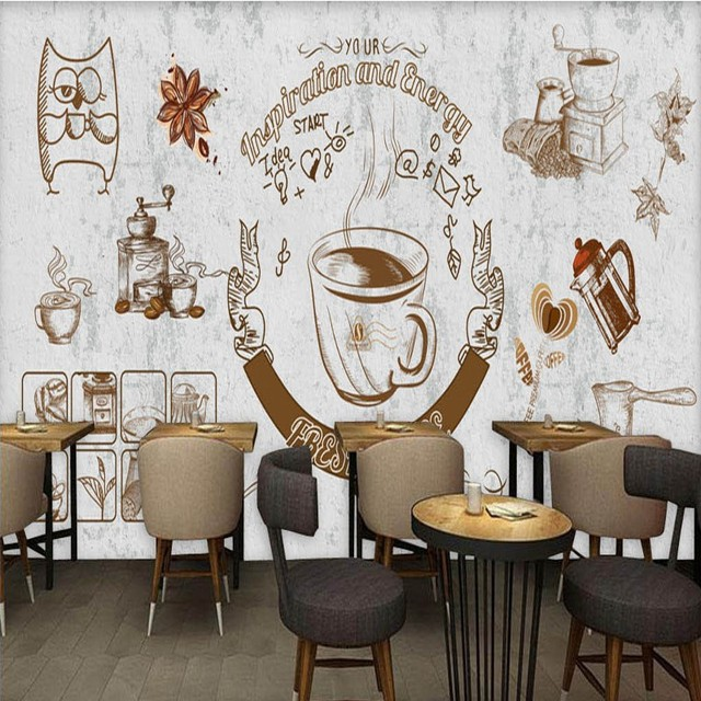 Photo wallpaper europe the united states retro cement wall mural coffee shop background wallpaper restaurant bar