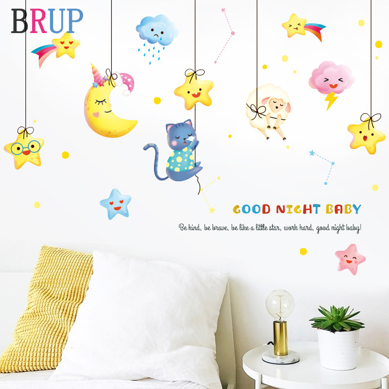 Cartoon Moon Stars Wall <font><b>Stickers</b></font> for Kids Room Cat Sheep Baby Room Decoration Animals Home Decor Art Stikers <font><b>Muraux</b></font> image